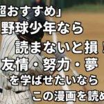 「超おすすめ」野球少年なら読まないと損!友情・努力・夢を学ばせたいならこの漫画だ!
