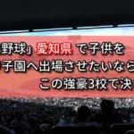「高校野球」愛知県で子供を甲子園へ出場させたいなら、この強豪3校で決まり!