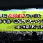 「高校野球」和歌山県で子供を甲子園へ出場させたいなら、この強豪3校で決まり!