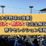 【東都大学野球の強豪】立正・駒沢大を完全解説!寮やセレクション情報など