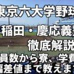「東京六大学野球」強豪早稲田・慶応義塾を徹底解説。注目選手から部員数、寮、学費、偏差値まで教えます。