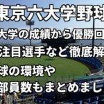 「東京六大学野球」全大学の成績から優勝回数、注目選手など徹底解説。野球の環境や部員数もまとめました。