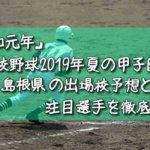 「令和元年」高校野球2019年夏の甲子園/島根県の出場校予想と注目選手を徹底解説