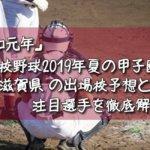 「令和元年」高校野球2019年夏の甲子園/滋賀県の出場校予想と注目選手を徹底解説