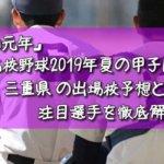 「令和元年」高校野球2019年夏の甲子園/三重県の出場校予想と注目選手を徹底解説