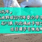 「令和元年」高校野球2019年夏の甲子園/石川県の出場校予想と注目選手を徹底解説