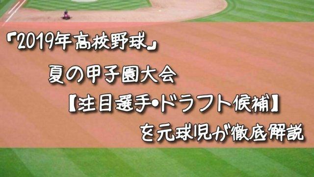 「2019年高校野球」夏の甲子園大会【注目選手・ドラフト候補】を元球児が徹底解説